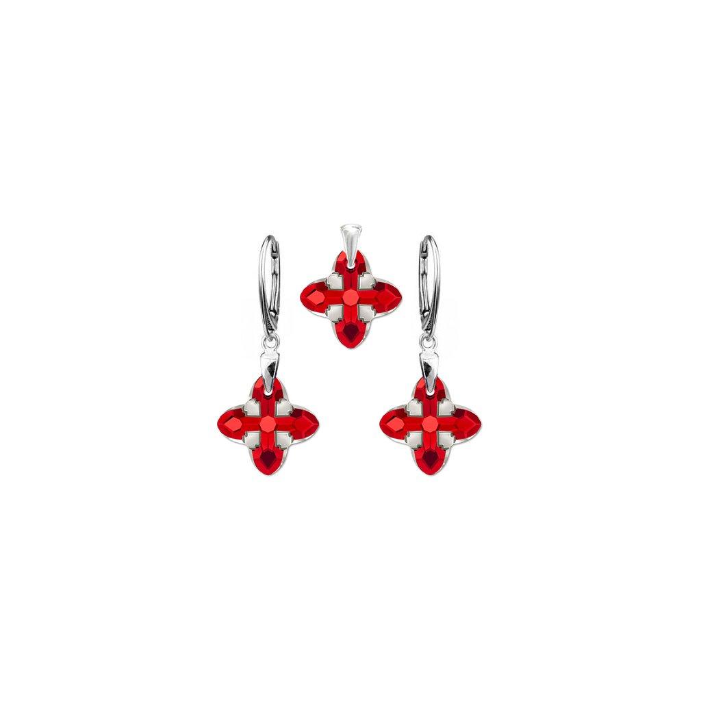 Strieborný set SWAROVSKI ELEMENTS v tvare hviezdy červená farba