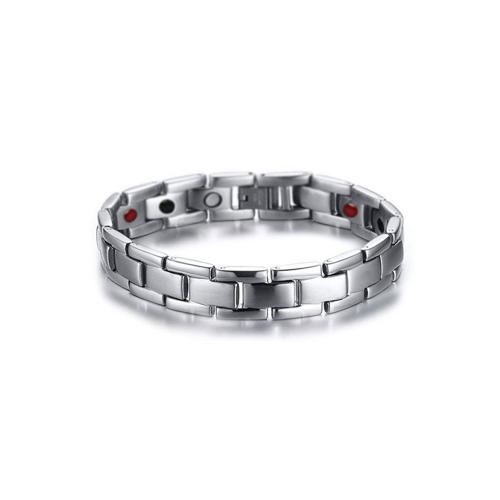 46d76911f Magnetický náramok z chirurgickej ocele v striebornom prevedení - mŠperk.sk