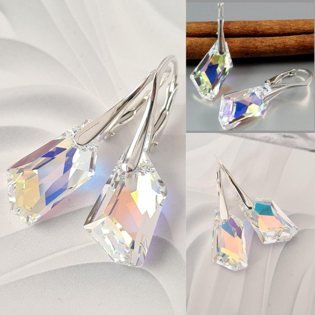 Strieborné dámske náušnice so Swarovski Crystals 18 mm krištálik