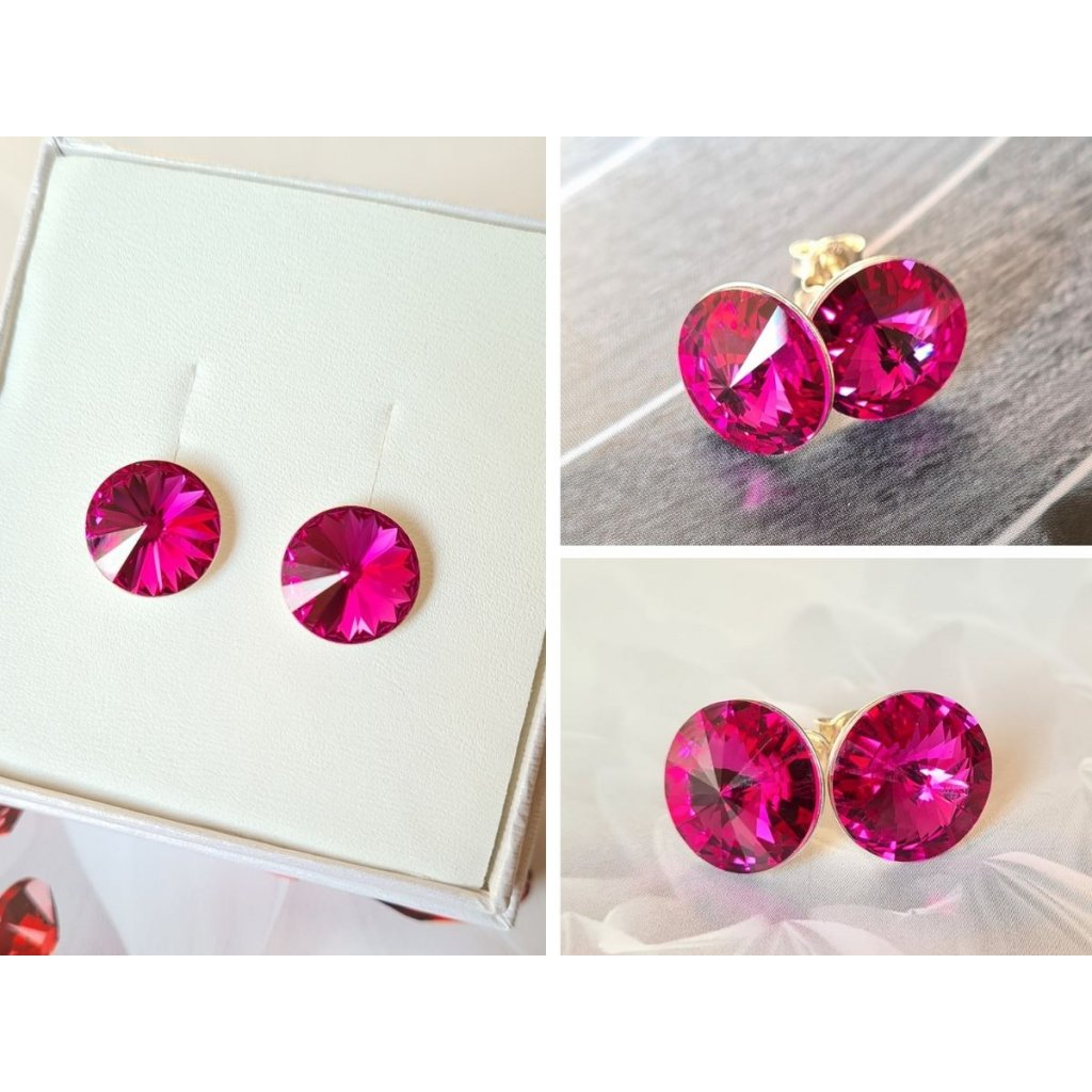 Strieborné dievčenské napichovacie náušnice Swarovski crystals rivoli 12 mm