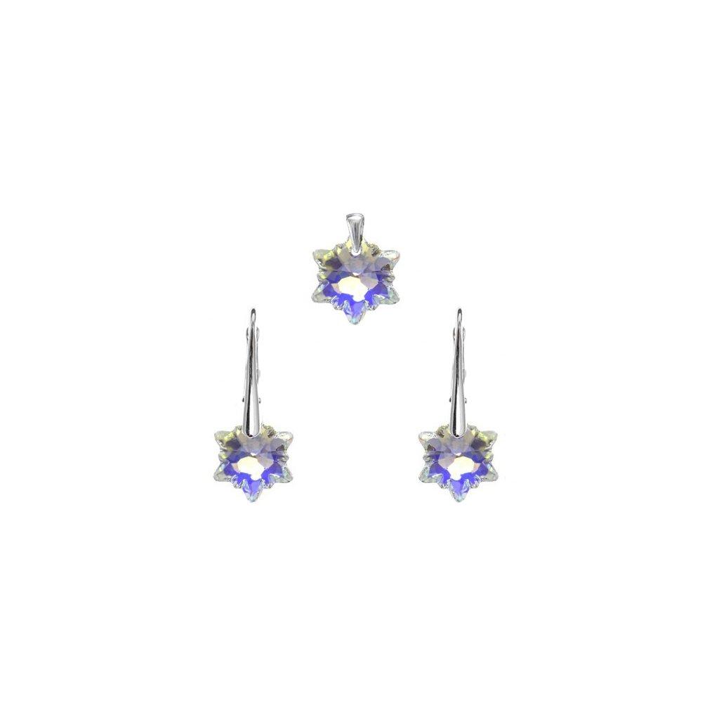 Strieborná súprava - prívesok a náušnice Edel v tvare hviezdy s fialovým odleskom