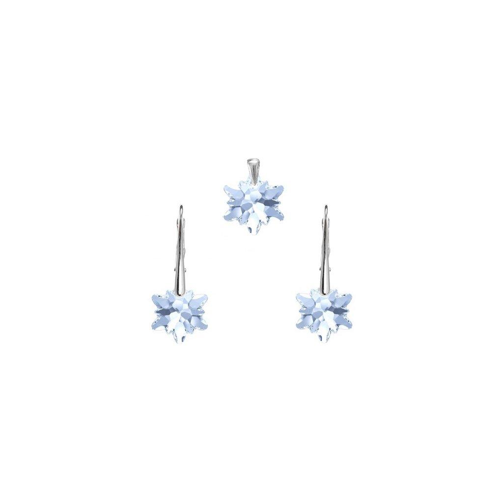 Strieborná súprava - prívesok a náušnice Edel v tvare hviezdy svetlo modrá farba