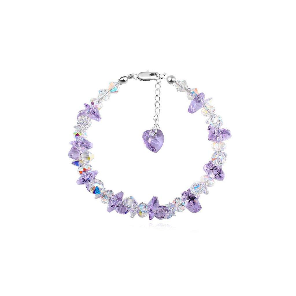Exkluzívny náramok Made with swarovski crystals - Violet