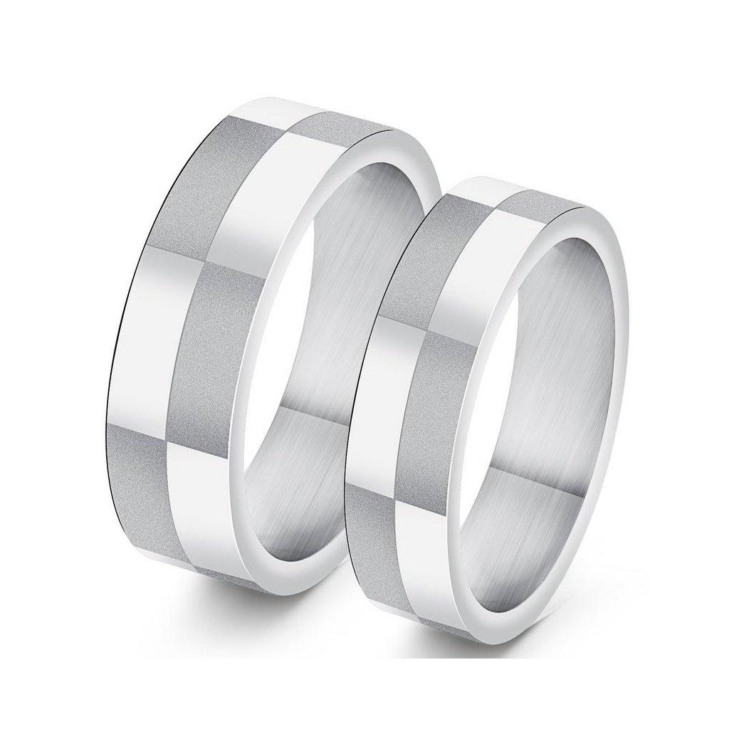 Prstene z chirurgickej ocele - vzor šachovnica 2ks