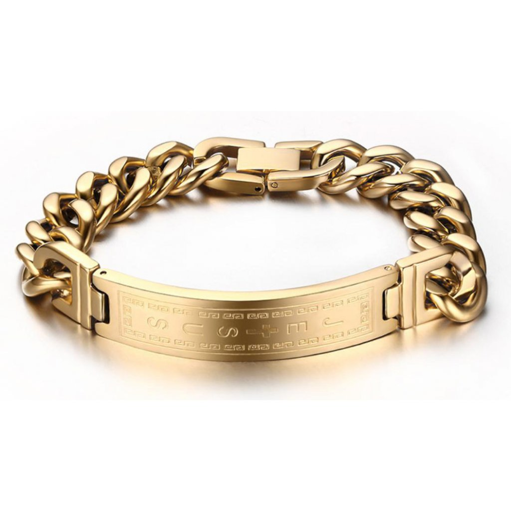 a2da215e5 Náramok z chirurgickej ocele s nápisom Jesus - zlatá farba - mŠperk.sk