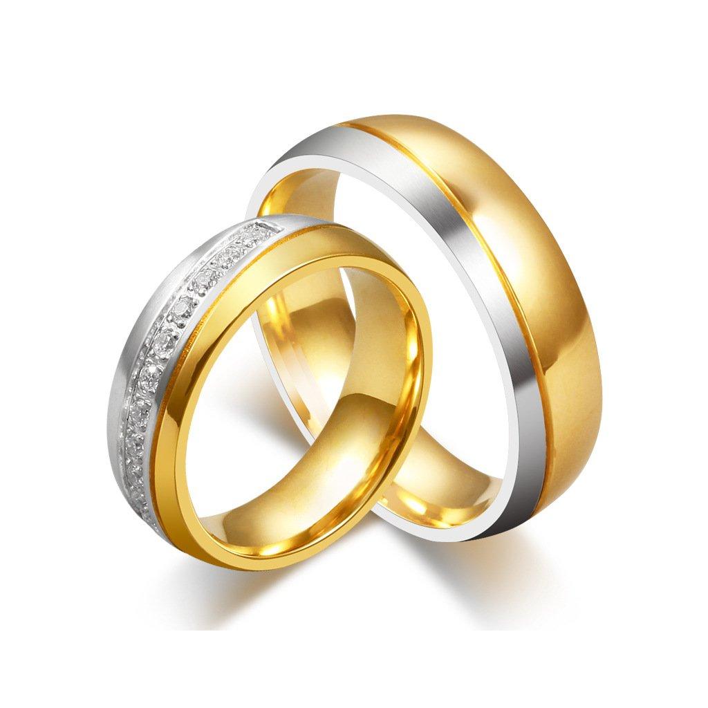 Svadobné obrúčky kombinované strieborno zlaté z chirurgickej ocele