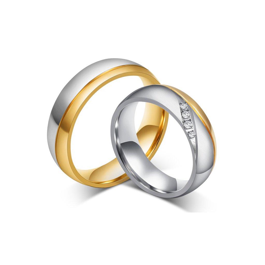 Svadobné obrúčky z chirurgickej ocele strieborno zlatá kombinácia 4x zirkón - 2ks