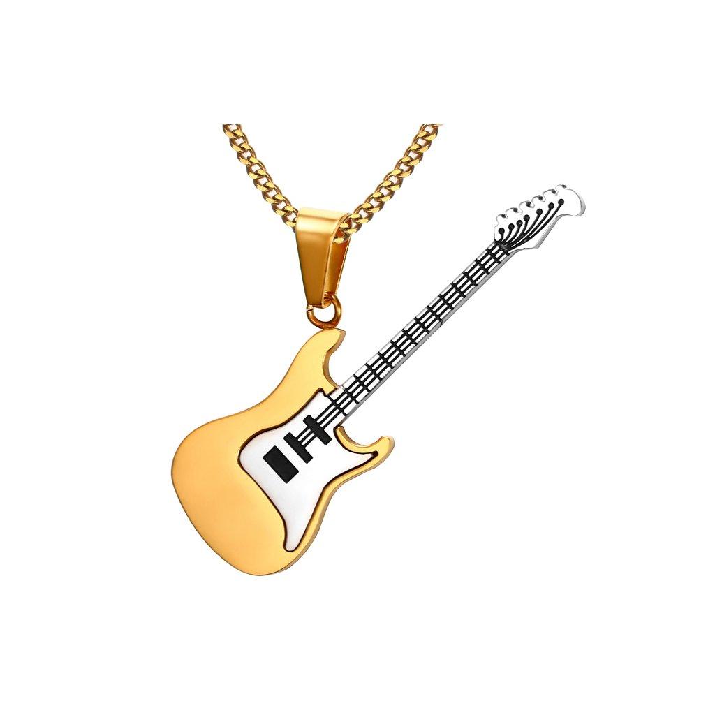 Prívesok gitara s retiazkou strieborno zlatá farba čierne struny