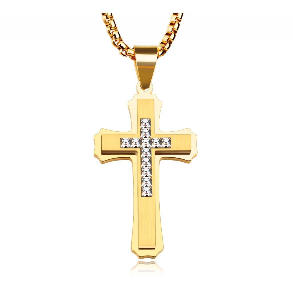 Kríž z chirurgickej ocele so zirkónmi v strede zlatá farba