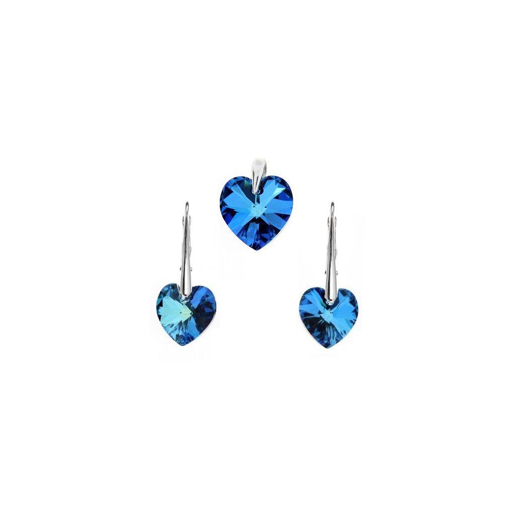 Prívesok a náušnice srdce Swarovski Crystals modrá farba