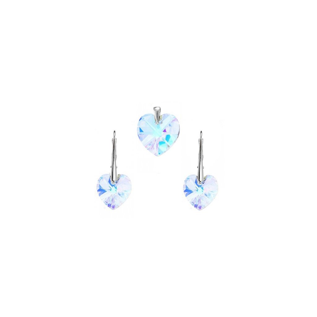 Prívesok a náušnice srdce Swarovski Crystals - mŠperk.sk b33cf412888