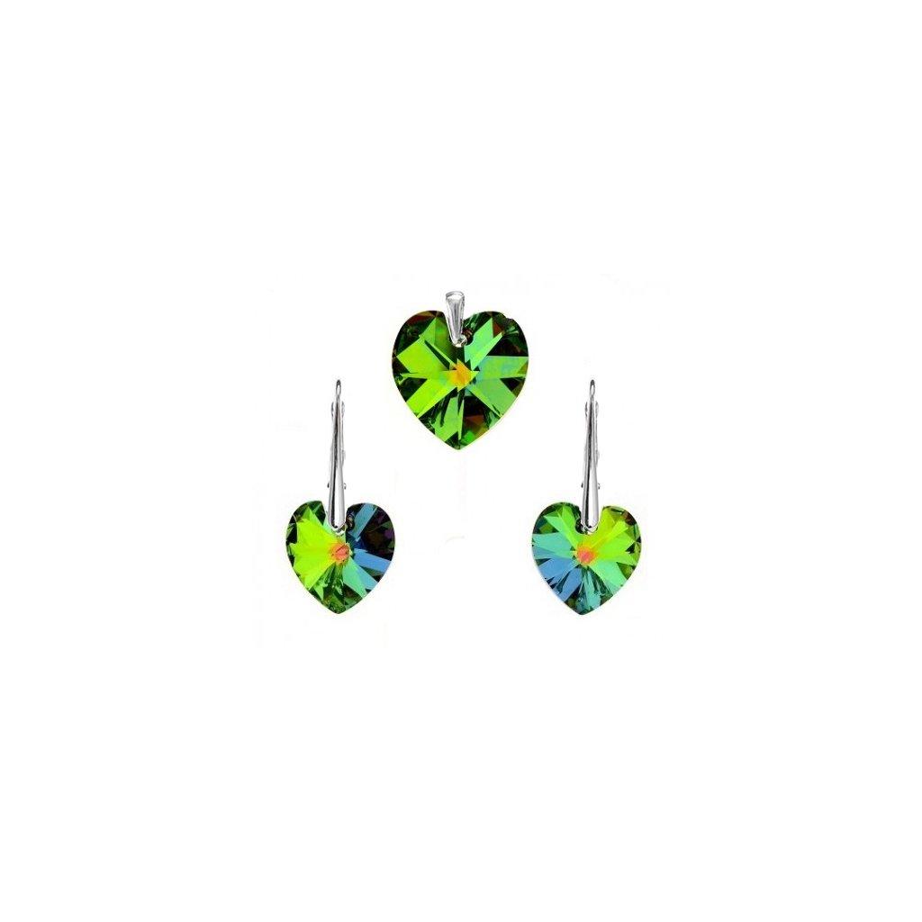 Prívesok a náušnice srdce Swarovski Crystals zelená farba