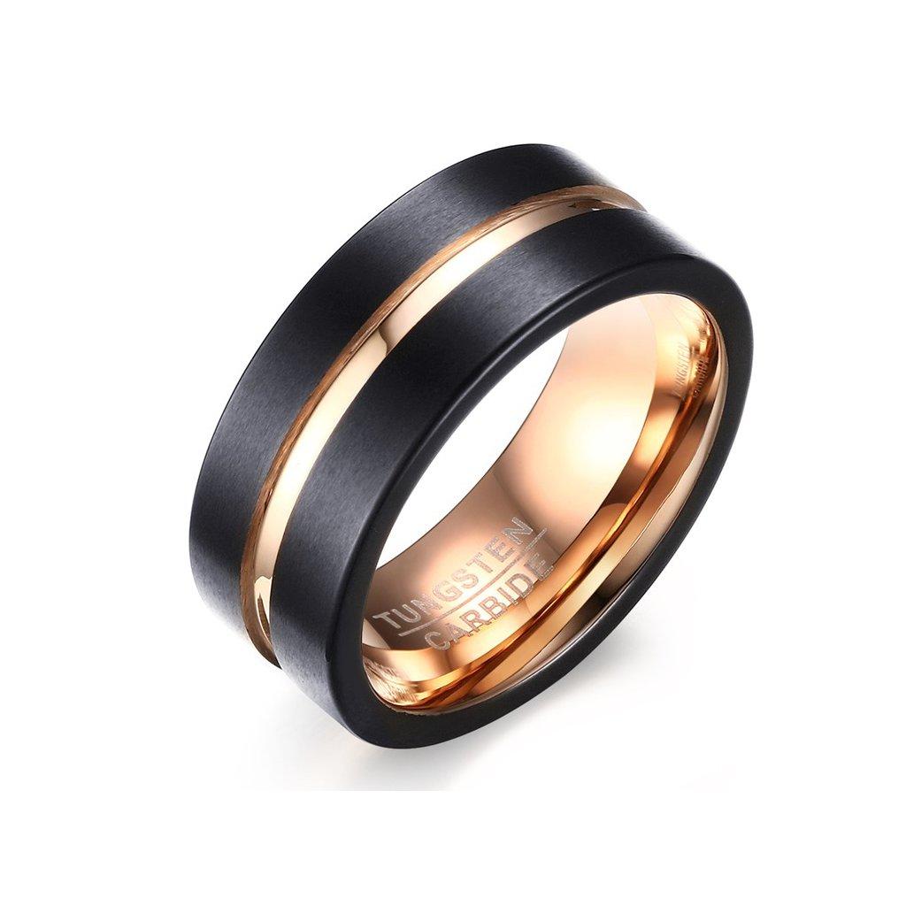 081e5b6a1 Volfrámový prsteň s medeným pruhom - mŠperk.sk