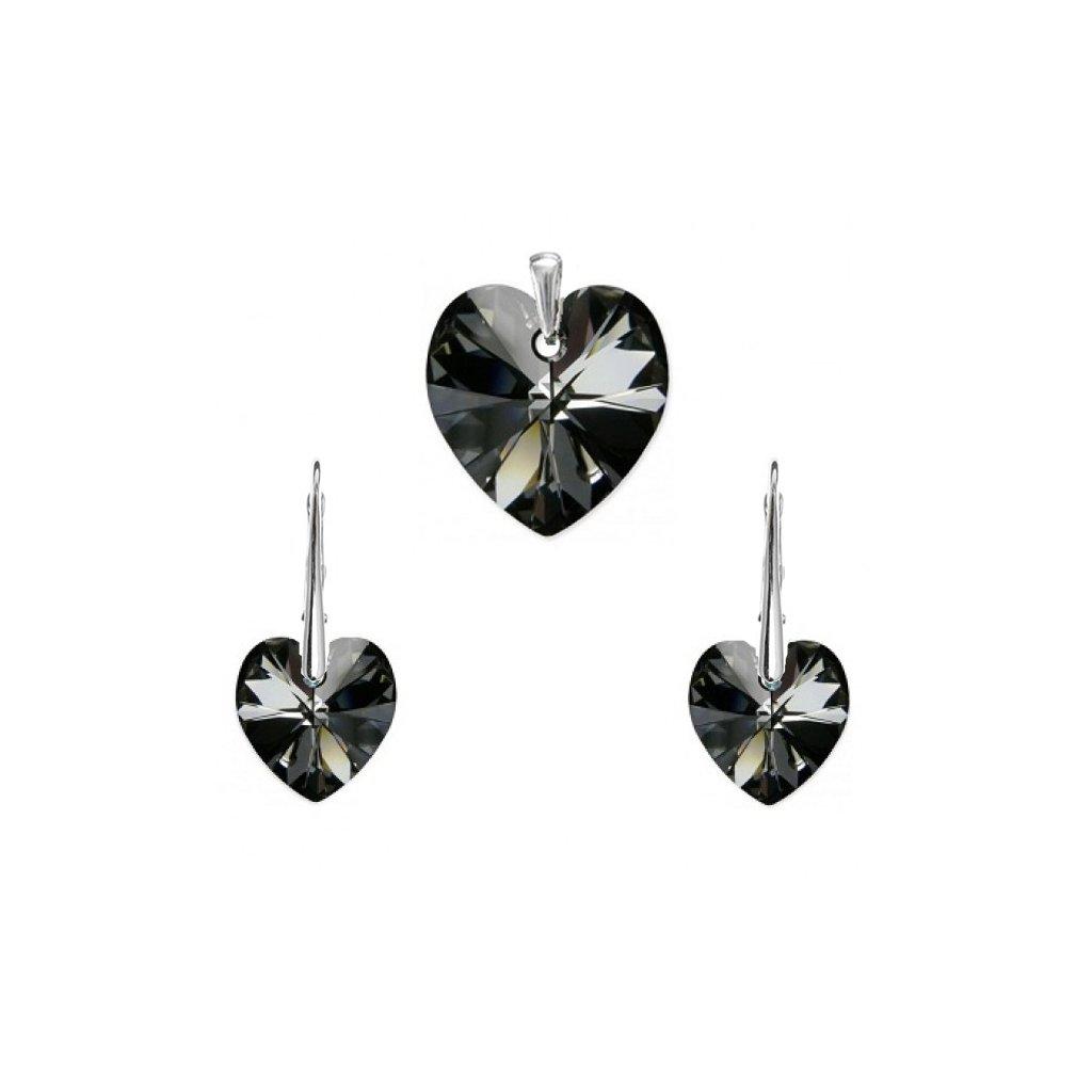 Prívesok a náušnice srdce Swarovski Crystals čierne - mŠperk.sk 5c1c52d1643