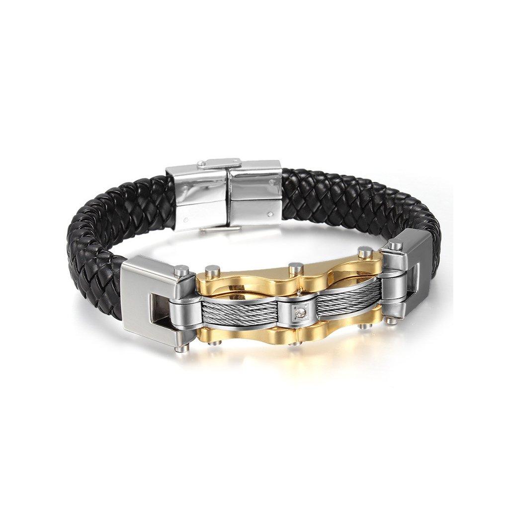 Luxusný pánsky náramok - ekokoža a oceľ - mŠperk.sk 9fe07ea4e39