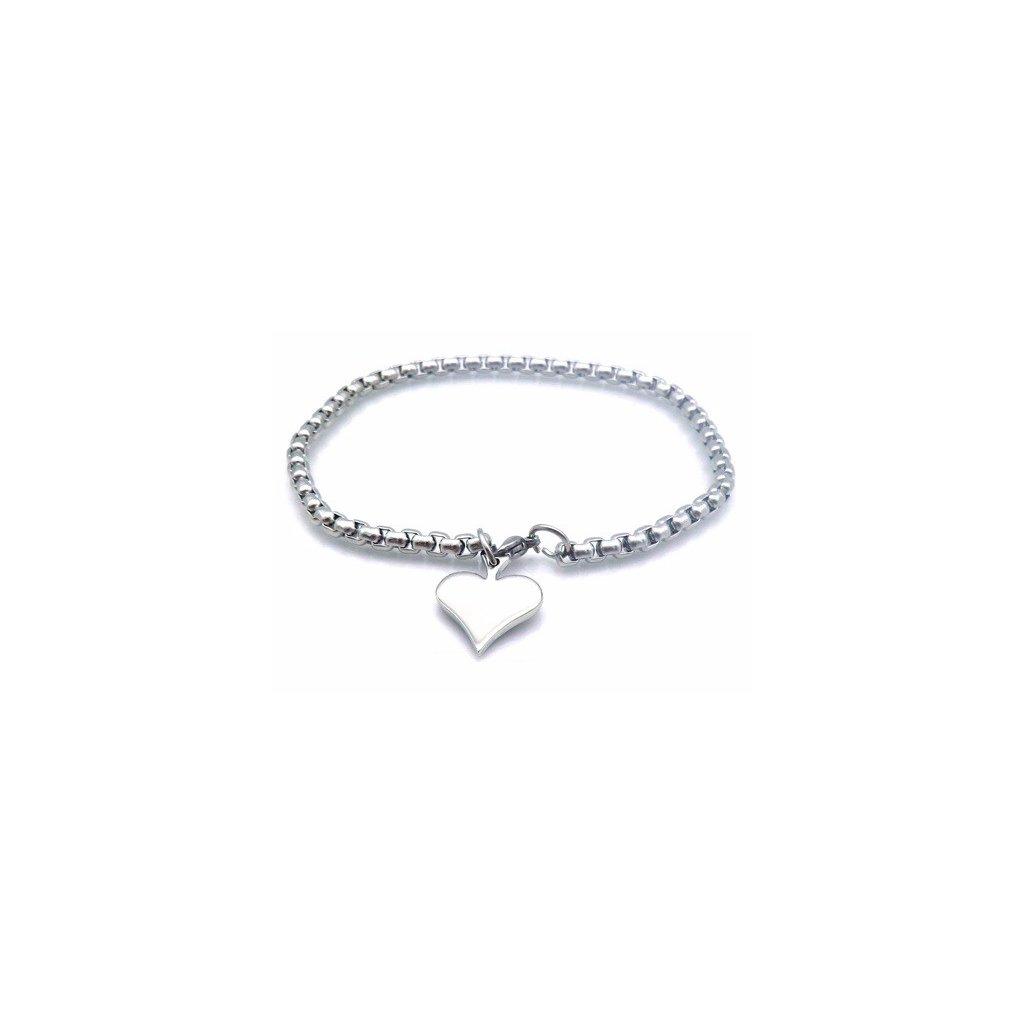 880e2821c Náramok z chirurgickej ocele s príveskom srdce - mŠperk.sk