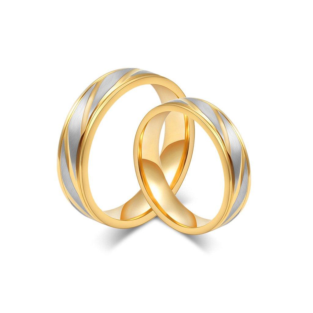 Svadobné obrúčky zlatej farby - z chirurgickej ocele 2 ks