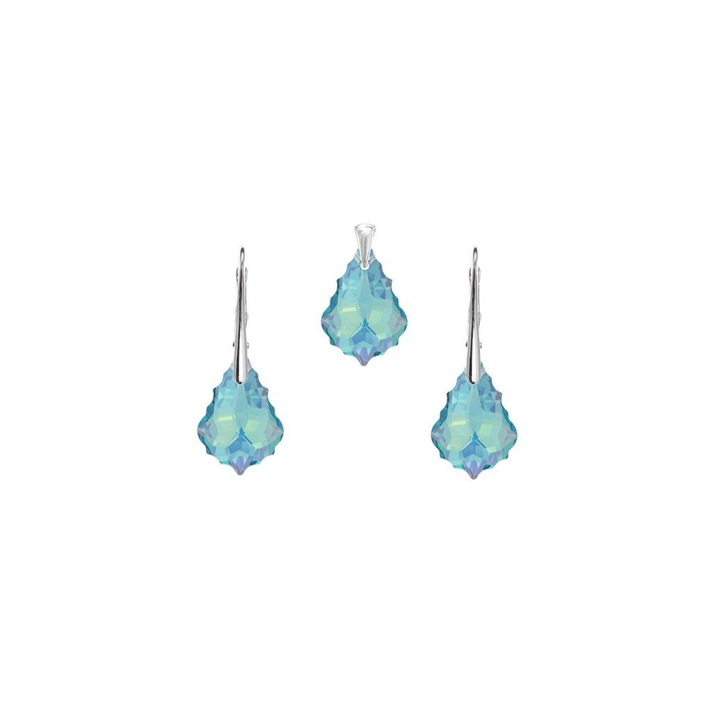 Prívesok a náušnice Barok Made With Swarovski Crystals svetlo modré