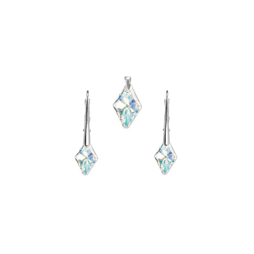 Prívesok a náušnice kosoštvorec Made with Swarovski Crystals