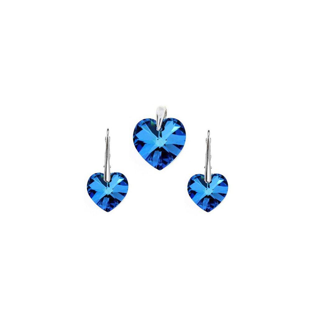 Prívesok a náušnice srdce Made with Swarovski Crystals - modrá farba
