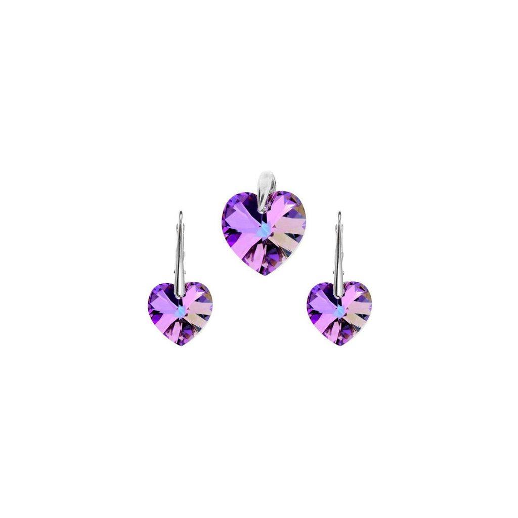 Prívesok a náušnice srdce Made with Swarovski Crystals - fialová farba