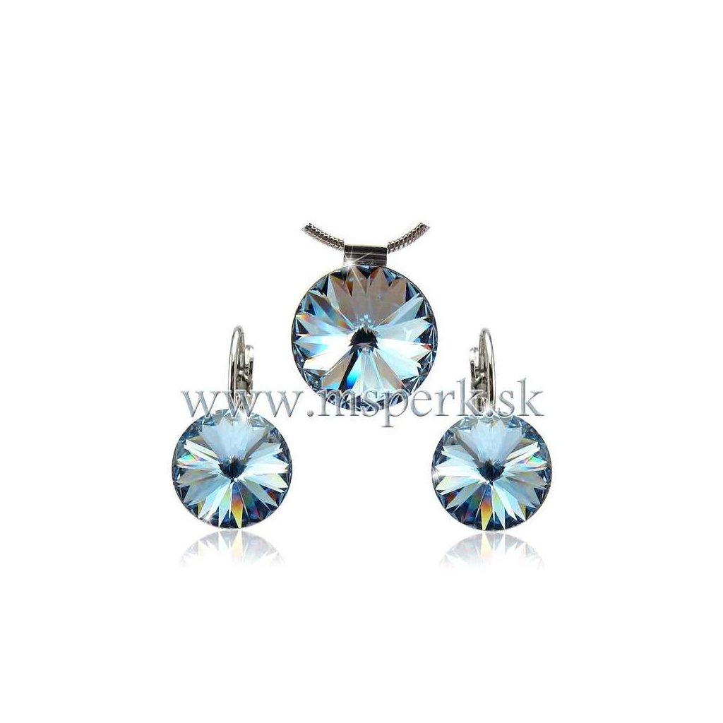 Set SWI crystal v tvare kruhu 12mm svetlo modrý