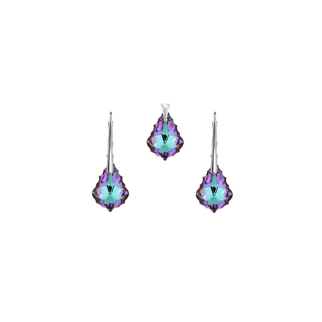 Prívesok a náušnice Barok Made With Swarovski Crystals modro fialová farba