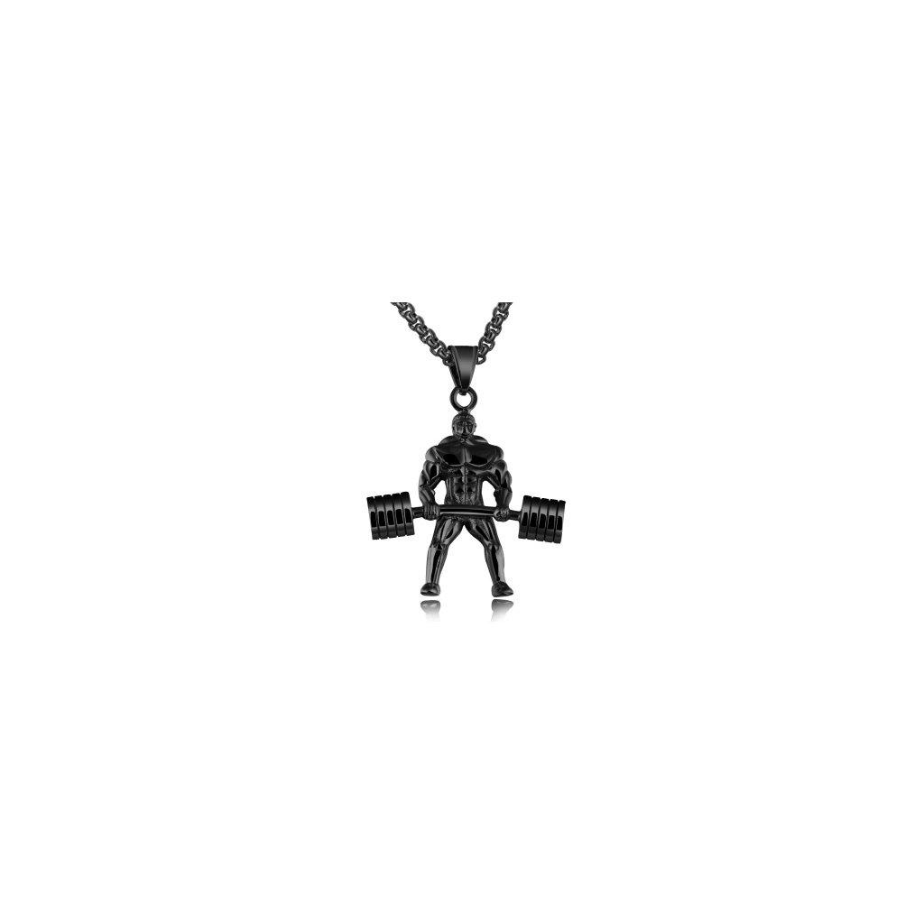 Prívesok Činka a vzpierač- s retiazkou čierna farba