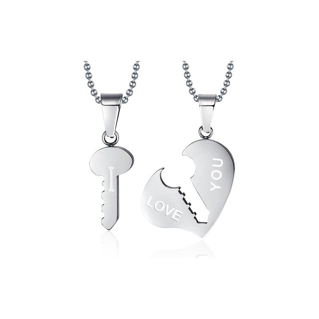 133dae7b7 Prívesok pre dvoch - srdce a kľúč - mŠperk.sk
