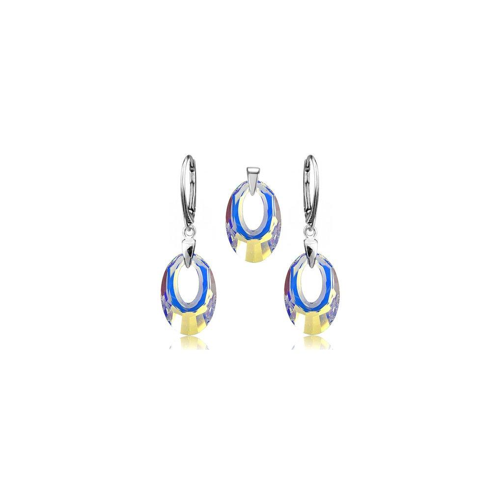 Set SWI crystal 20mm modro žltý odlesk