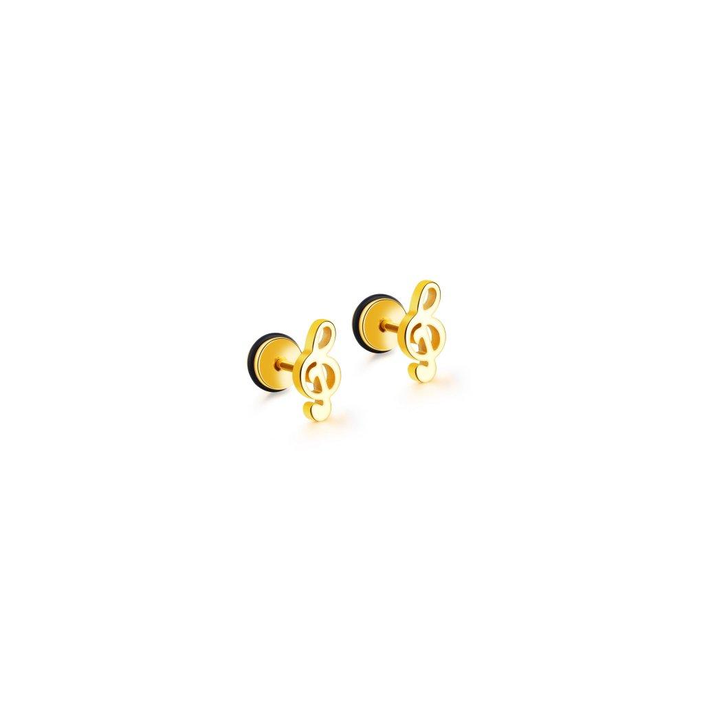 Náušnice husľový kľúč zlatá farba