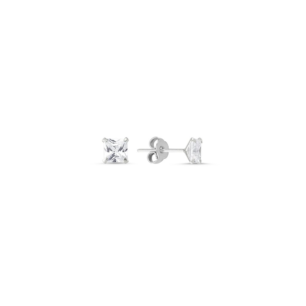 Strieborné náušnice so štvorcovým 4 mm zirkónom