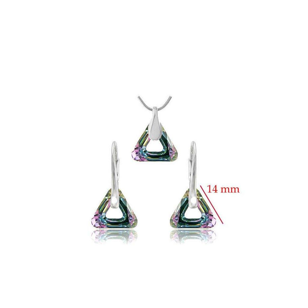 Set SWI crystal trojuholníky fialovo zelený