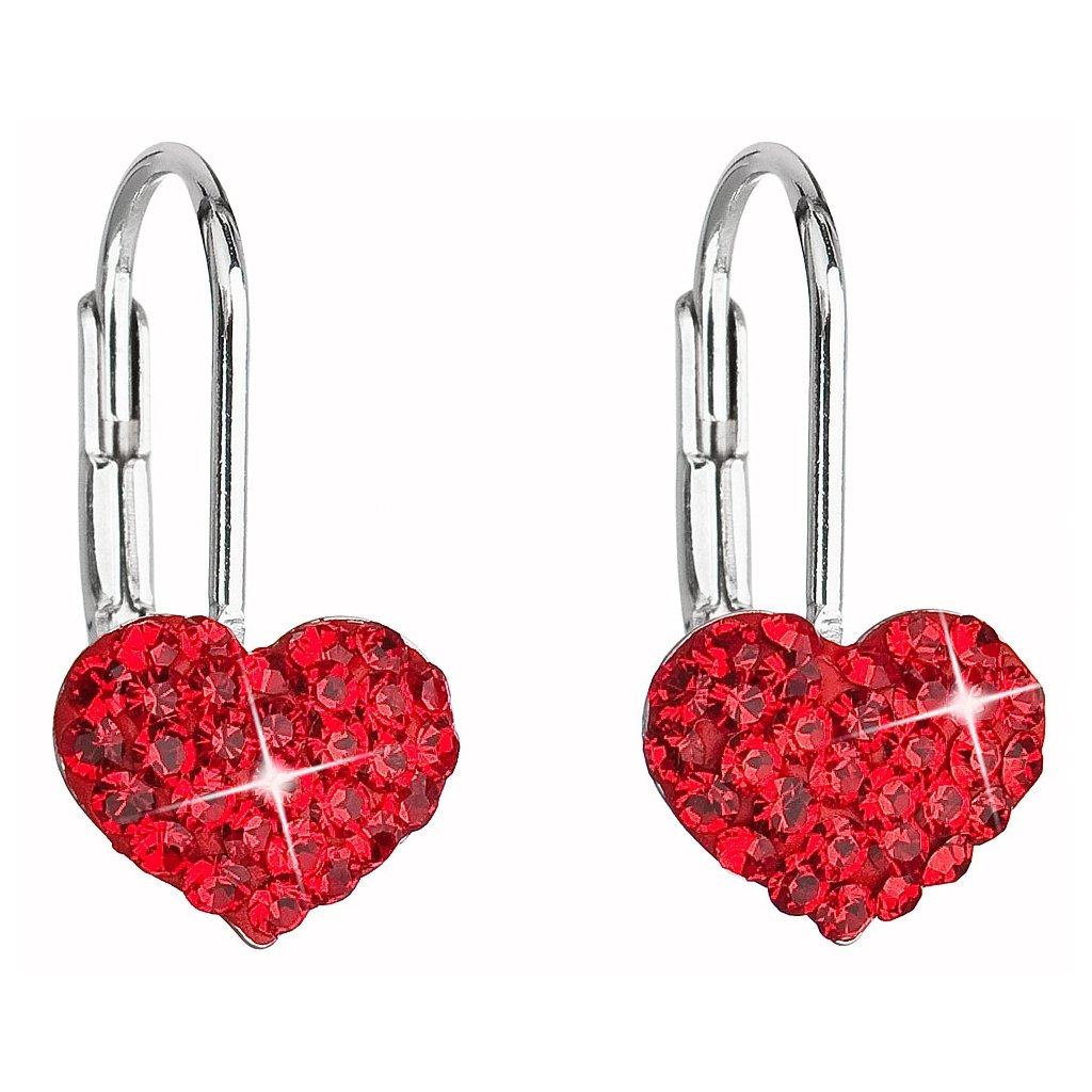 Strieborné dievčenské náušnice tvar srdca so Swarovski Crystals ... 8d7af988332