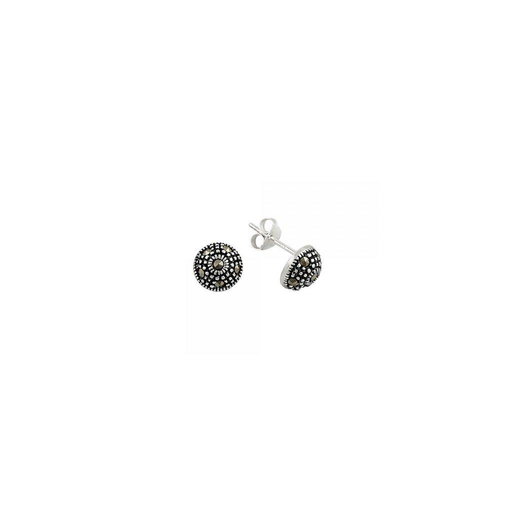 855cb7722 Strieborné náušnice v tvare pologule s markazitom - mŠperk.sk