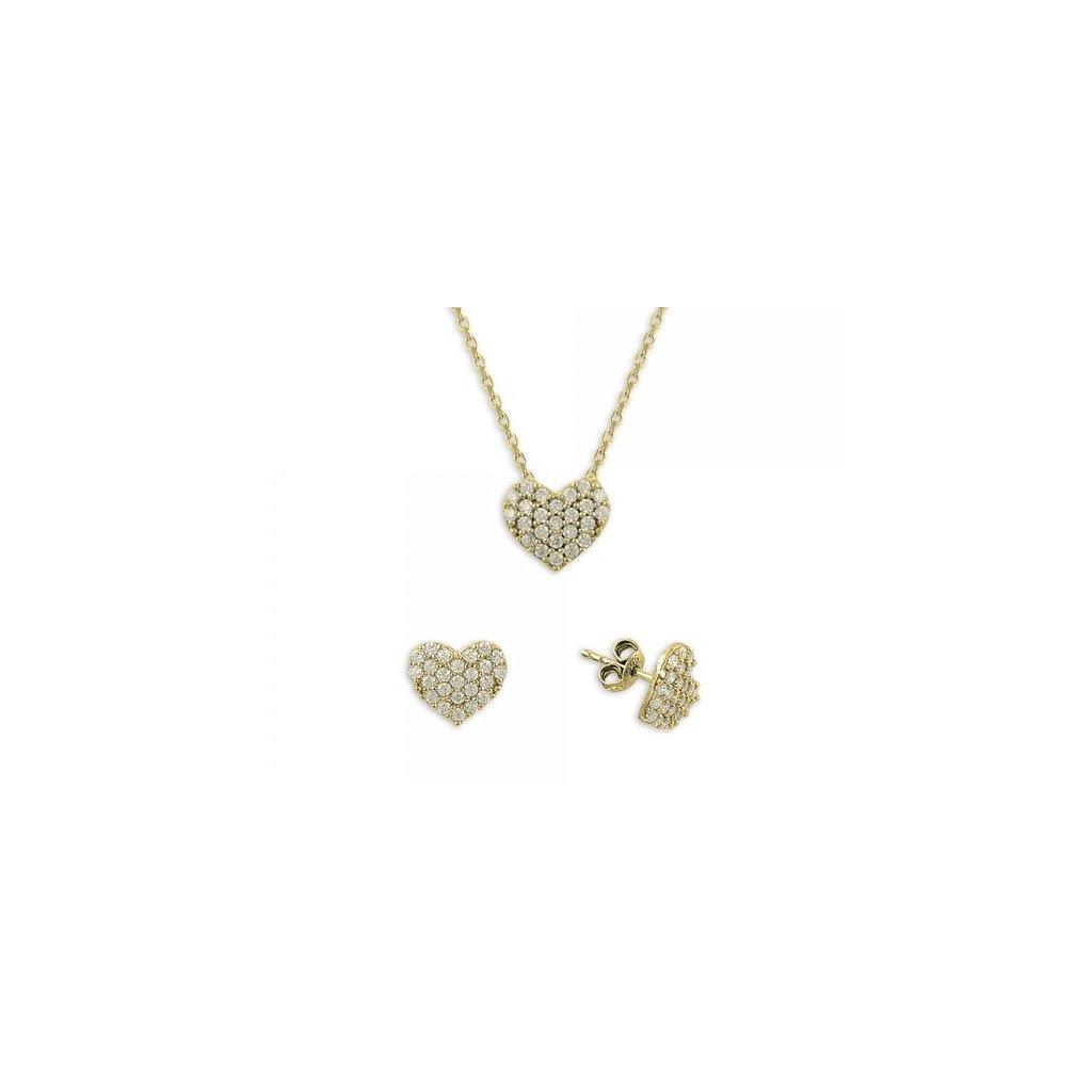 adcb1798b Strieborná súprava šperkov v tvare srdca - pozlátená - mŠperk.sk