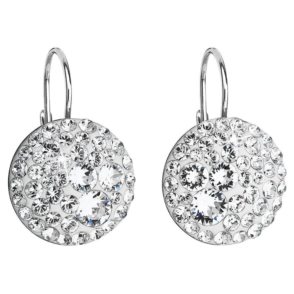 Strieborné dámske visiace náušnice vykladané krištálikmi Swarovski Crystals - číre  Ag 925/1000 Rh (2g)