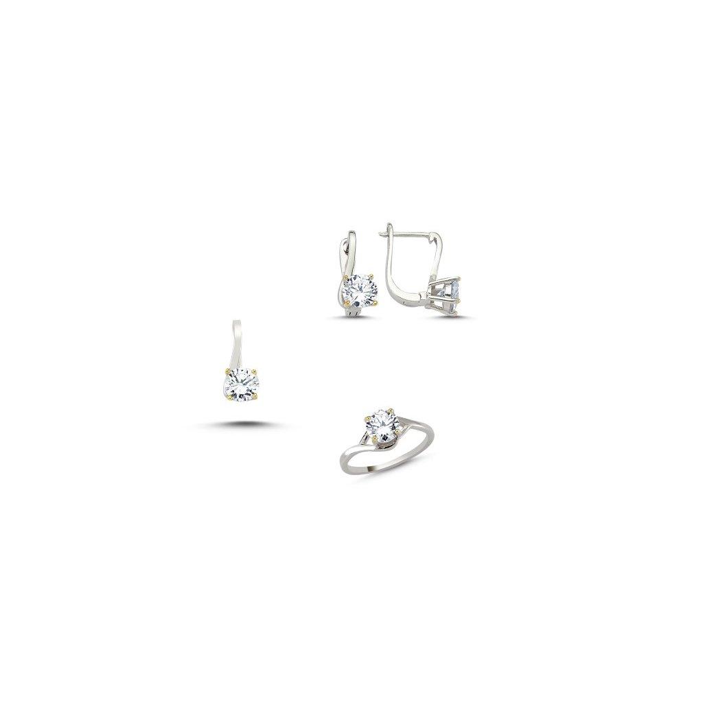 0295395de Strieborná súprava šperkov so zirkónmi Elegant Náušnice so zirkónmi ...