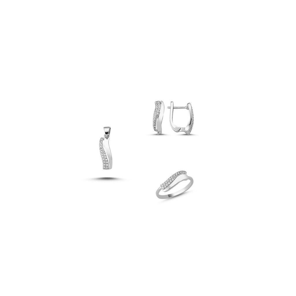 ad9231e43 Strieborná dámska súprava šperkov Elegant Náušnice so zirkónmi Ag 2g,  prívesok so zirkónmi Ag 1g, prsteň so zirkónmi Ag 1 g