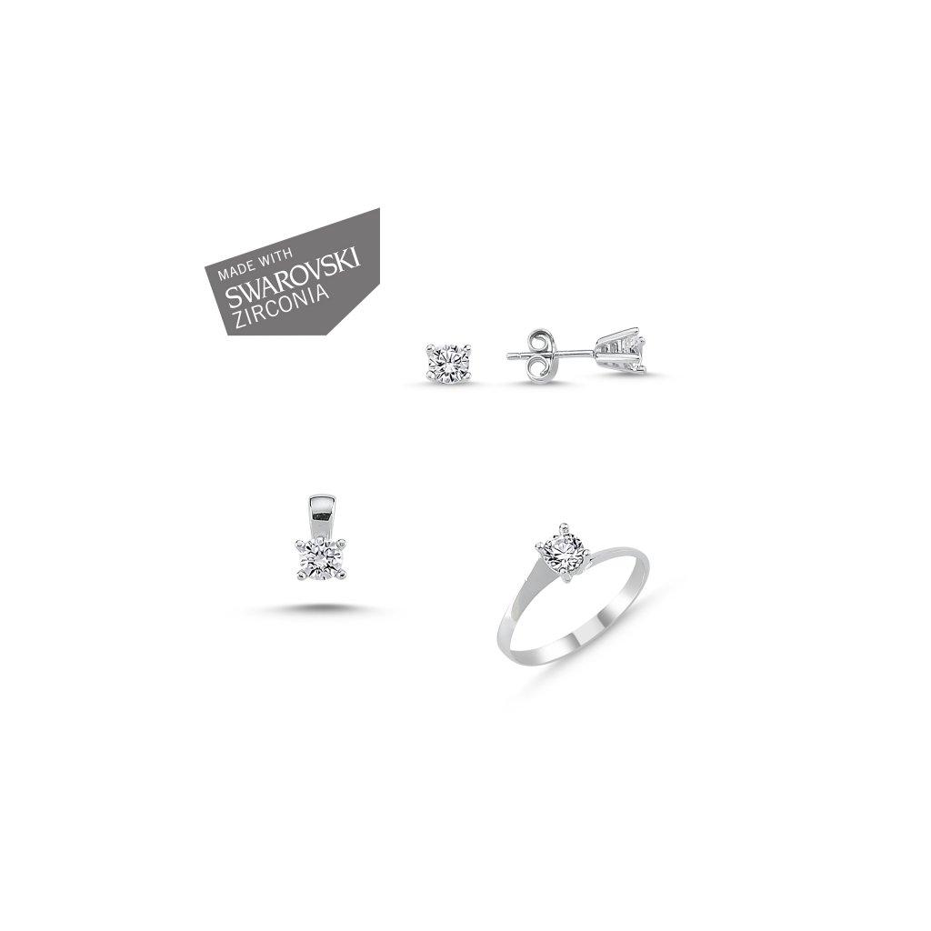 Strieborná súprava šperkov so zirkónmi Swarovski