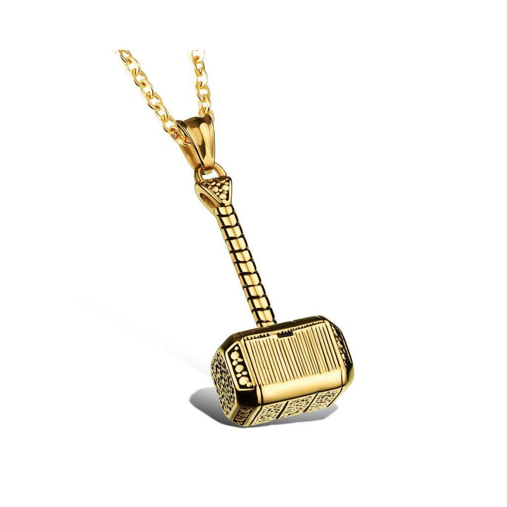 """Prívesok """"Thorovo kladivo"""" s retiazkou zlatá farba"""