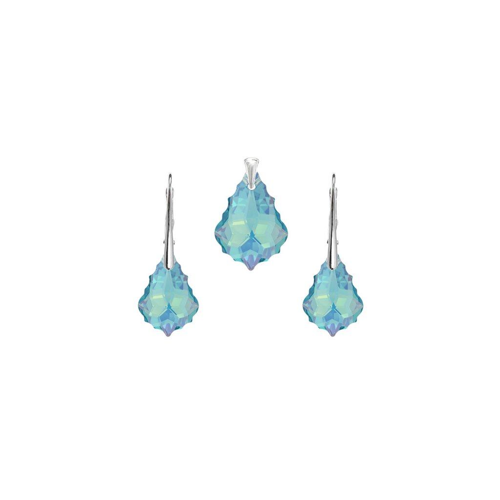 Prívesok a náušnice Barok Made With Swarovski Crystals svetlomodrý