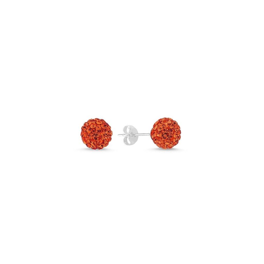 077d86b54 Strieborné náušnice guličky so zirkónmi - červené - mŠperk.sk