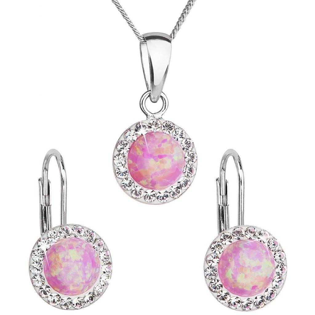 Prívesok a náušnice so synt. opálom a Swarovski crystals - ružová farba