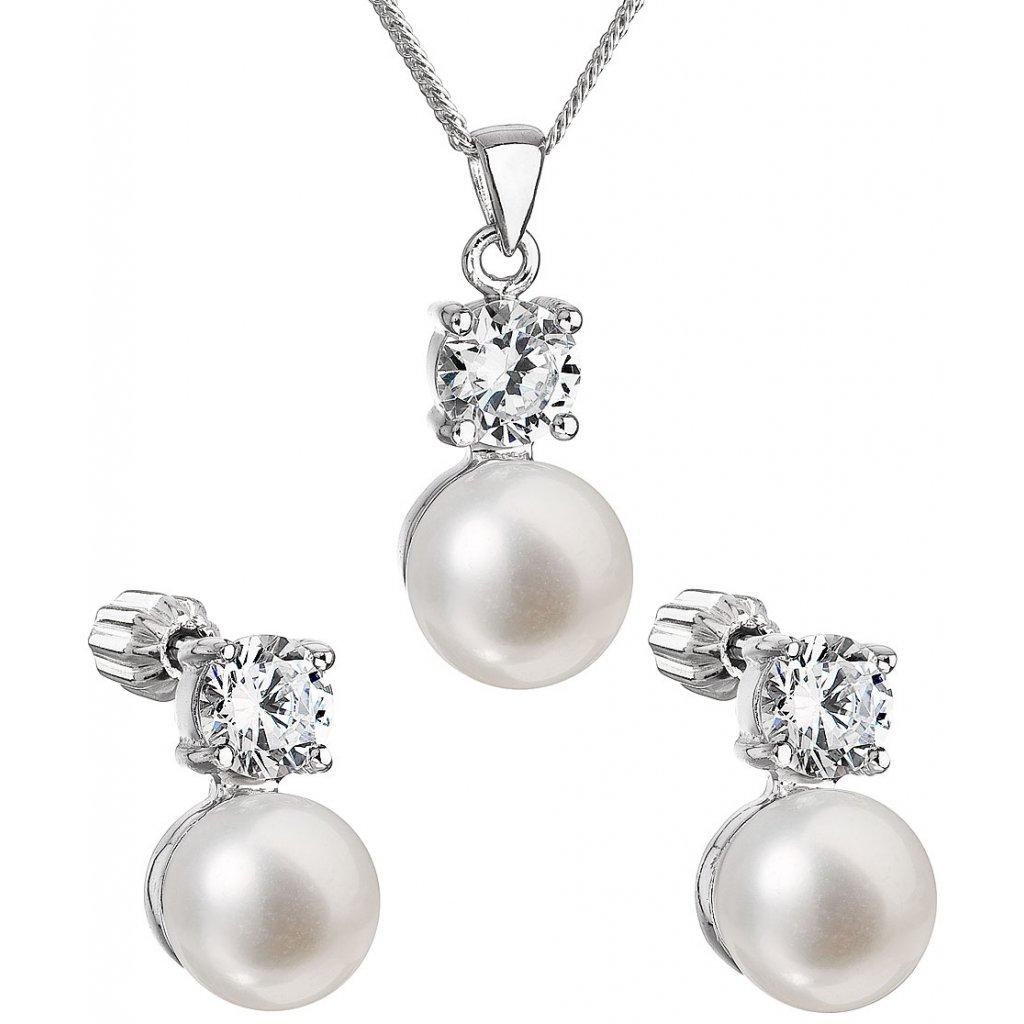 Perlová súprava šperkov z bielych, riečnych perál so zirkónom
