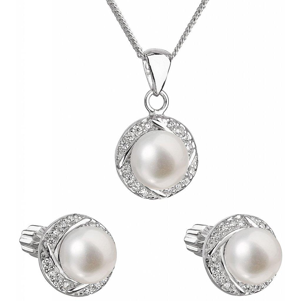 Súprava šperkov z bielych riečnych perál so zirkónikmi okolo perly