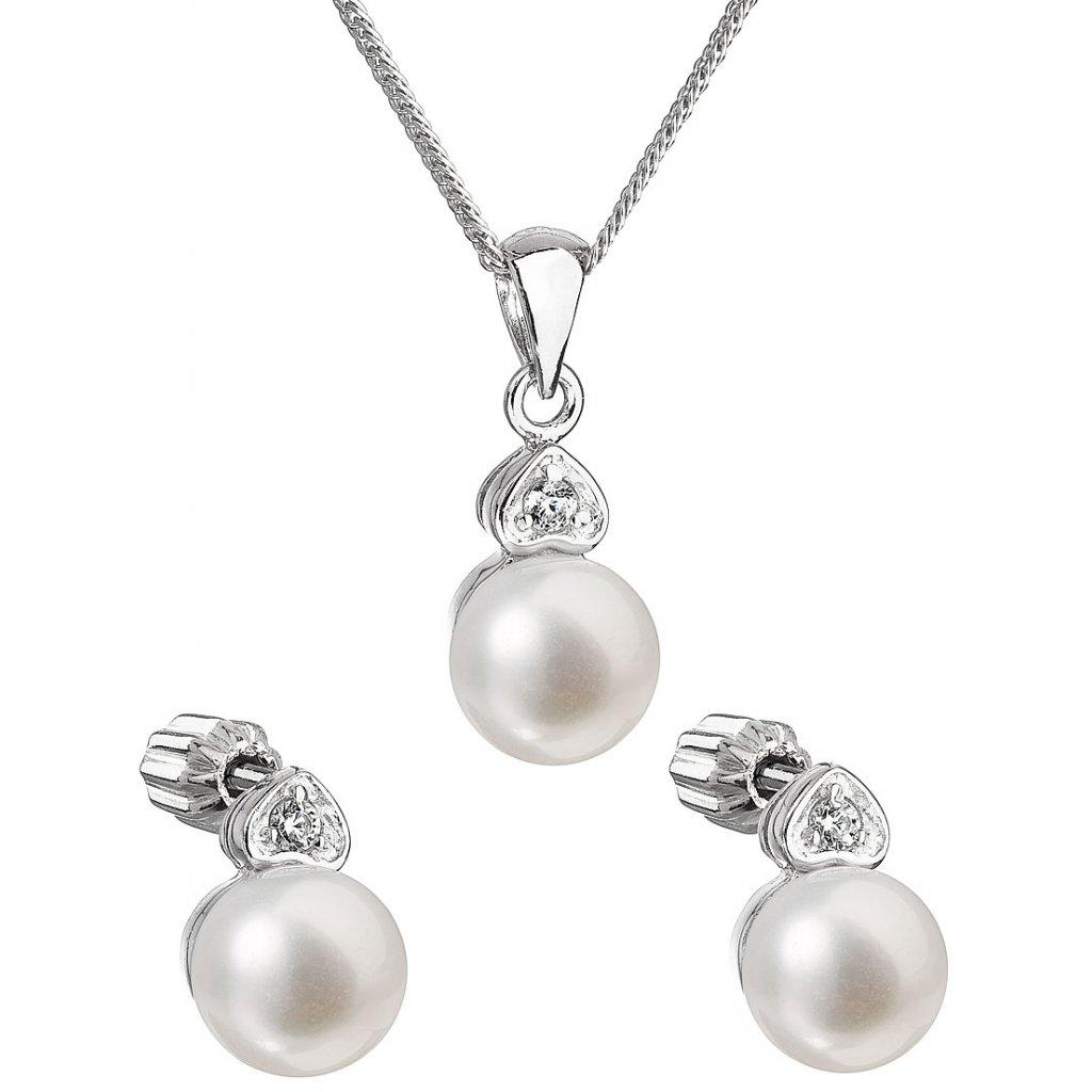 Súprava šperkov z bielych, riečnych perál