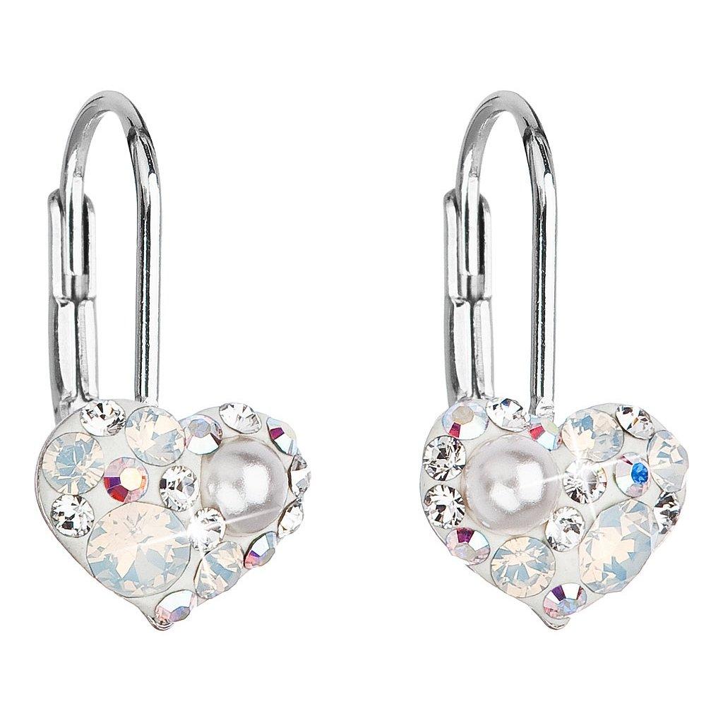 7fe3bc0b2 Strieborné dievčenské náušnice tvar srdca so Swarovski crystals ...