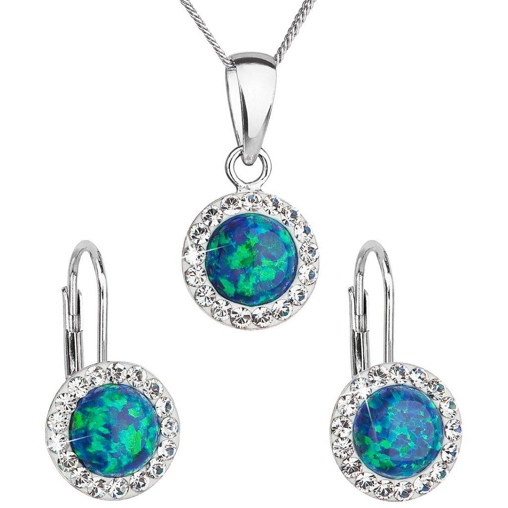 Prívesok a náušnice so synt. opálom a Swarovski crystals - zelená farba