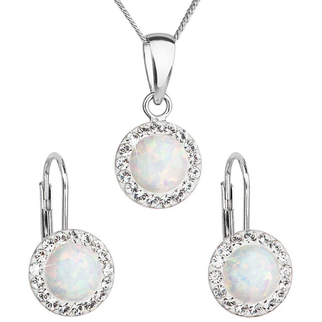Prívesok a náušnice so synt. opálom a Swarovski crystals - biele